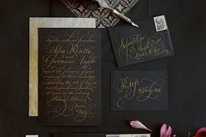 convite ideias preto dourado